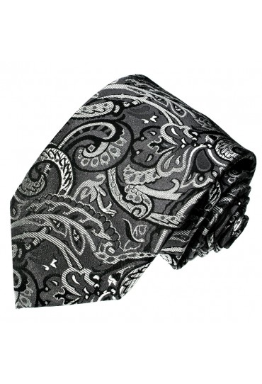 Men's Necktie Pure Silk Floral Grey Black LORENZO CANA