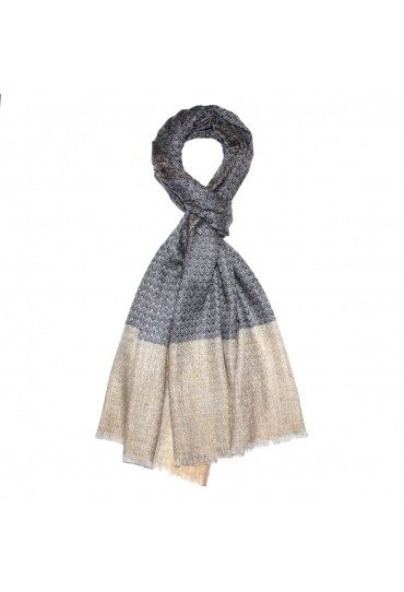 Shawl 100% Cashmere Bicolored Beige Grey For Men LORENZO CANA