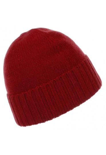 Cap 100% Cashmere Uni Red Crimson Scarlet LORENZO CANA