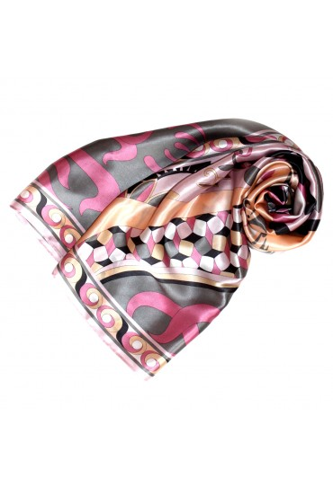 Scarf for Women pink grey apricot silk floral LORENZO CANA