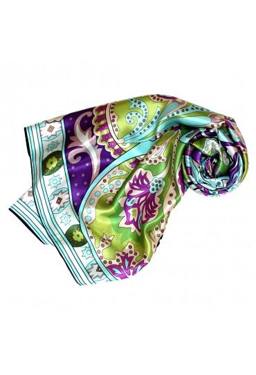 Women's XL Scarf 100% Silk Floral Green LORENZO CANA