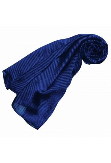 Luxury Women's Shawl 100% Silk Blue Stripes LORENZO CANA