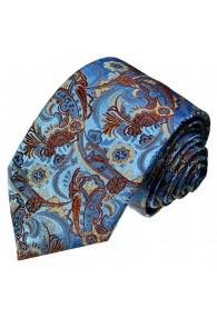 Neck Tie Pure Silk Paisley Blue Rust LORENZO CANA