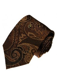 Men's Necktie Pure Silk Paisley Brown Mocca LORENZO CANA