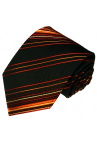 Men's Necktie Pure Silk Striped Black LORENZO CANA
