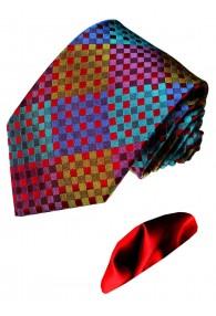 Krawatte 100% Seide Karo bunt