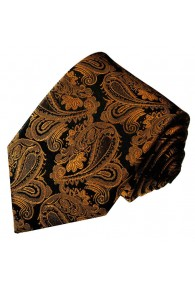 Neck Tie 100% Silk Brown Black Paisley LORENZO CANA