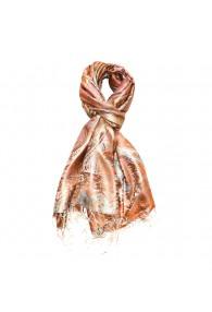 Men's Shawl 100% Silk Paisley Orange Cyan LORENZO CANA
