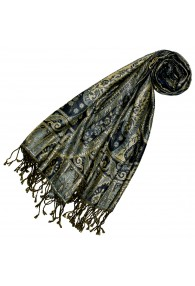 Shawl Silk Wool Paisley Navy Gold For Women LORENZO CANA