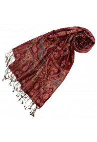 Women's Pashmina Silk Wool Paisley Rust Dark Red LORENZO CANA