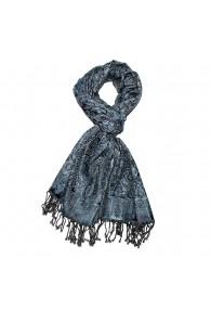 Men's Shawl Silk Wool Paisley Blue Black LORENZO CANA
