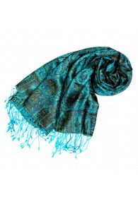 Shawl Silk Wool Paisley Cyan Bronze For Women LORENZO CANA