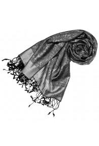 Women's Shawl Silk Viscose Paisley Grey Silver LORENZO CANA