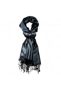 Men's Shawl Silk Viscose Bicolored Steel Navy LORENZO CANA