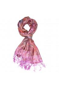 Men's Shawl 100% Silk Paisley Pink Orange LORENZO CANA
