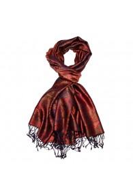 Men's Shawl 100% Silk Paisley Bronze Red LORENZO CANA