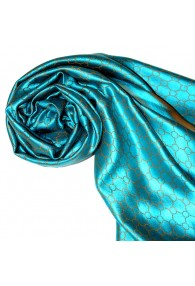 Women's Shawl Silk Viscose Checkered Cyan Gold LORENZO CANA