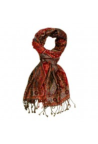 Shawl Silk Wool Paisley Red Brown For Men LORENZO CANA