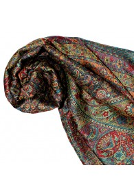 Shawl Silk Wool Paisley Red Blue Yellow For Women LORENZO CANA