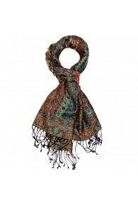 Shawl Silk Wool Paisley Red Blue Yellow For Men LORENZO CANA