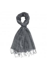 Scarf Wool Checkered Black White For Men LORENZO CANA