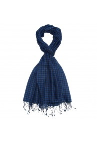 Scarf Wool Checkered Blue Black For Men LORENZO CANA