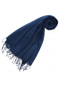 Scarf Wool Checkered Blue Black For Women LORENZO CANA