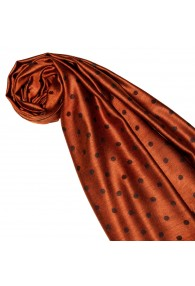 Women's Shawl Silk Viscose Polka Dot Rust Brown LORENZO CANA
