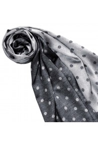 Women's Shawl Silk Viscose Polka Dot Charcoal White LORENZO CANA