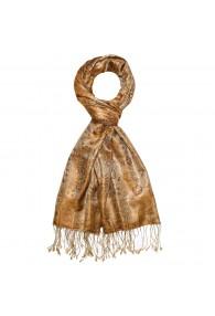 Men's Shawl 100% Silk Paisley Brown Gold LORENZO CANA