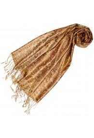 Women's Pashmina 100% Silk Paisley Brown Gold LORENZO CANA