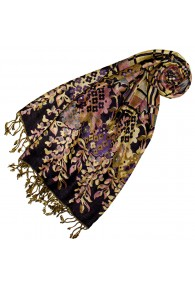 Pashmina 100% Viscose Floral Brown Black For Women LORENZO CANA