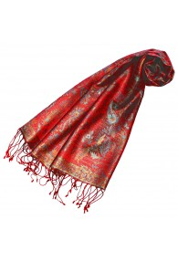 Women's Pashmina 100% Silk Paisley Red Cyan LORENZO CANA