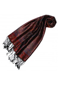 Women's Pashmina 100% Silk Paisley Red Brown LORENZO CANA