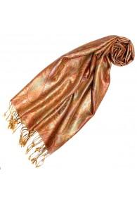 Women's Pashmina 100% Silk Paisley Orange Gold LORENZO CANA