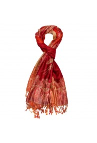 Shawl Silk Wool Paisley Red Orange For Men LORENZO CANA