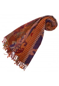 Scarf Wool Paisley Brown Purple For Women LORENZO CANA