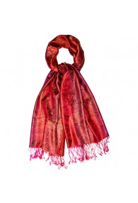 Men's Shawl 100% Silk Paisley Red Magenta LORENZO CANA