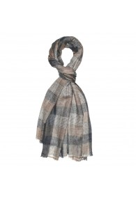 Shawl 100% Cashmere Checkered Brown Grey For Men LORENZO CANA