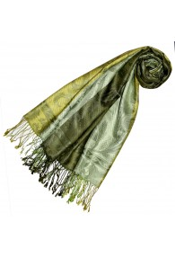 Women's Pashmina 100% Silk Paisley Green Lime LORENZO CANA