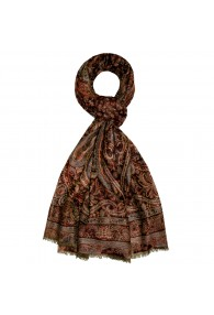 Shawl 100% Cashmere Paisley Copper For Men LORENZO CANA