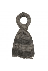 Shawl 100% Cashmere Diamond Brown Grey For Men LORENZO CANA