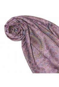 Shawl Silk Wool Paisley Pink Yellow For Women LORENZO CANA