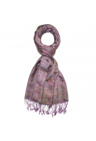 Shawl Silk Wool Paisley Pink Yellow For Men LORENZO CANA