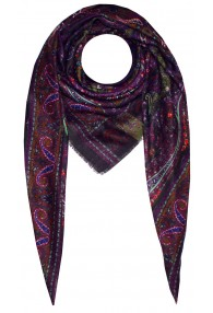 Men's XL Scarf Wool Silk Aztec Purple LORENZO CANA