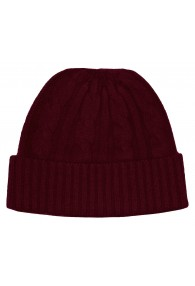 Winter Beanie Cashmere Cable Knit Wine Red LORENZO CANA