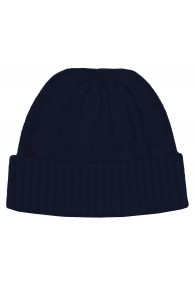 Cap 100% Cashmere Cable Stitch Dark Blue Grey LORENZO CANA