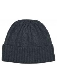 Mütze 100% Kaschmir Zopf grau dunkelgrau LORENZO CANA
