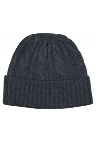 Cap 100% Cashmere Cable Stitch Dark Grey LORENZO CANA