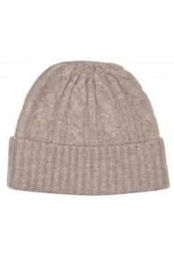 Winter Beanie Cashmere Cable Knit Light Brown LORENZO CANA